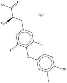Liothyronine is a form of thyroid hormone used to treat hypothyroidism and myxedema coma. It is marketed as the sodium salt under the brand name Cytomel.[3] Liothyronine is the most potent form of thyroid hormone. Chemically, it is nearly identical to triiodothyronine (T3). As such, it acts on the body to increase the basal metabolic rate, effect protein synthesis and increase the body's sensitivity to catecholamines (such as adrenaline) by permissiveness.