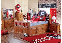 A lot like my son's room. Exchange the bed for a crib, and add a georgia rocking chair.