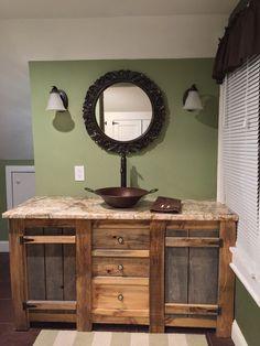 Reclaimed Barnwood Vanity Cabin Bathrooms, Primitive Bathrooms, Rustic Bathrooms, Rustic Bathroom Designs, Rustic Bathroom Vanities, Small Bathroom, Vanity Bathroom, Bathroom Ideas, Bathroom Cabinets
