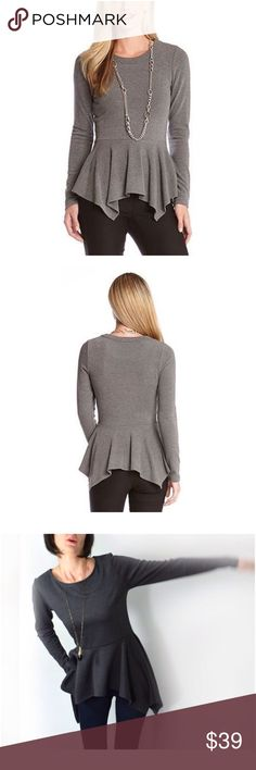 """Karen Kane Peplum Top Grey A favorite Karen Kane top is back for fall in a long sleeve cut of soft jersey. The gently fitted A-line silhouette drapes to a handkerchief hem designed to move with fluttery grace. 29-30""""length. Slips on over head. Scoop neck. 91% polyester, 9% spandex. Made in USA. No trades. Reasonable offers welcome. Karen Kane Tops Tees - Long Sleeve"""