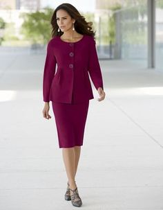 Adele Suit from Monroe and Main. With decorative buttons in front, it's an easy-on front snap into shapely, princess-seamed flattery. Suits You, Suits For Women, Skirt Suit, Adele, Well Dressed, Tuxedo, Polyester Spandex, New Look, Fashion Forward