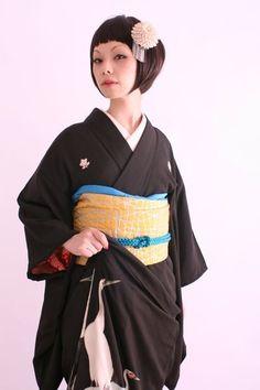 アンティーク着物(鶴)とアンティークの髪飾り  の画像 | ダリヘアデザイン 高島の靭公園から徒然と