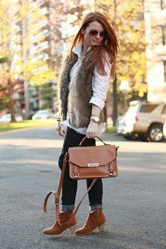 faux fur vest   booties - more → http://sylviafashionstylinglife.blogspot.com/2012/04/faux-fur-vest-booties.html
