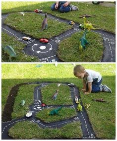 Learn how to make a Backyard Race Car Track for the kids. This is an easy DIY and it will keep the family entertained for hours. Backyard For Kids, Diy For Kids, Backyard Ideas, Race Car Track, Race Tracks, Race Cars, Diy Planters, Garden Planters, Outdoor Play