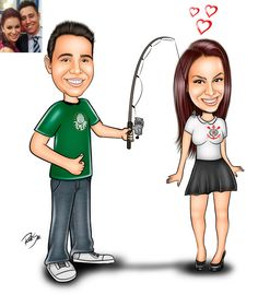 Caricaturas digitais, desenhos animados, ilustração, caricatura realista: Desenho casal de namorados com tema de futebol !!