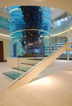 cantilevered glass helical staircase  designed and built around a large aquarium