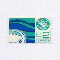 Exports: Abolone ($2). Mexico, 1975-1982 (The Ground Issue). Design: Rafael Davidson. #mnh #graphilately