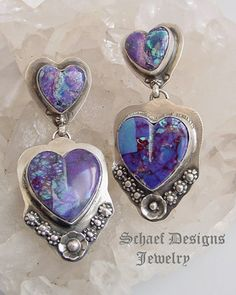 Schaef Designs Purple Turquoise & Sterling Silver Double Heart POST Earrings   Southwestern & Turquoise Jewelry    New Mexico