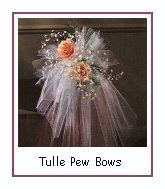 Decorating with tulle, how to make a tulle pew bow, how to use tulle on tables, ceilings, arbors, and tiki lights