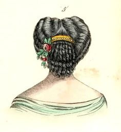 1860's hair - nice back view, would make a great hairpiece, with the comb and flowers attached.