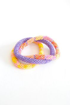 Yellow & Purple Lily and Laura bracelets
