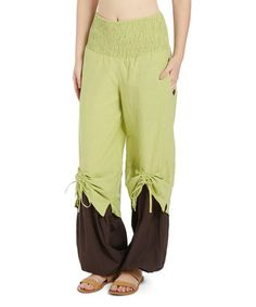 Look what I found on #zulily! Spring Green & Brown Tie-Layer Palazzo Pants #zulilyfinds