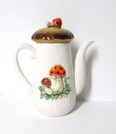 Merry Mushroom Coffee Pot by TheVintageResource,