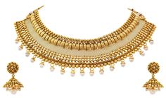JFL - Traditional Ethnic Semi Bridal One Gram Gold Plated Choker Necklace set for Girls & Women. Plating : 22K One Gram Gold Plated, Material : Made from Good Quality Copper Alloy. Earring Size : Ht: 4.8 cm x Wd: 3.1 cm x Wt: 16 gms. JFL - Traditional Ethnic Semi Bridal One Gram Gold Plated Pearl Designer Choker Necklace set with Jhumka Earring perfect for all Occasions. BRAND JFL :-JFL- Jewellery for Less - is a leading brand of Fashion Jewellery known for its quality products, collection…