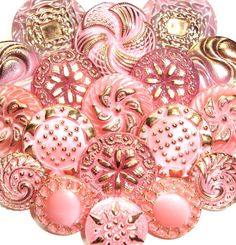Vintage pink and gold Czech glass buttons