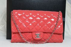 Chanel Dk pink Rose Fonce patent Leather Classic flap bag clutch 2012