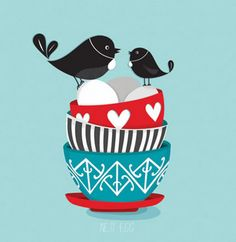 Nest Egg by Red Ink Design at Image Vault - prints Tui Bird, Kiwiana, New Zealand, Retro Fashion, Design Art, Nest, Disney Characters, Fictional Characters, Snoopy