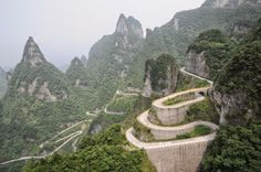 Tianmen Mountain Road, Hunan, China (Beautiful roads around the world : theCHIVE) Big Sur California, Beautiful Roads, Beautiful Places, Wonderful Places, Places Around The World, Around The Worlds, Tianmen Mountain, Laos, Before I Die