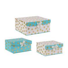 Aqua and Gold Dots Storage Boxes, Set of 3 | Kirklands