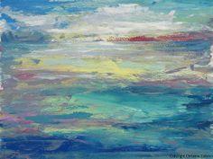 Ocean Abstract Painting Daybreak Acrylic by TheAtticTheory on Etsy, $135.00