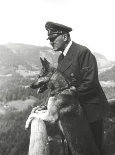 Never have seen this image (taken by Eva Braun) in higher resolution. You can clearly see Blondi's collar tag as well as the leash around Hitler's right hands. 1942.