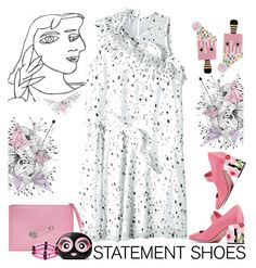"""""""Springtime Statement Shoes"""" by petalp ❤ liked on Polyvore featuring Versus, Carven, Kate Spade, Prada, First People First, Spring, dress and shoes"""