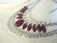 Dark purple and rhodium chain metal bib statement necklace, cabochon necklace, bib necklace, strand necklace, stone mix necklace, bridesmaid on Etsy, $13.99
