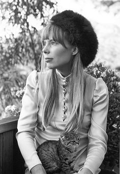 joni mitchell (in fur hat with feline friend, 1967)
