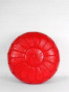 Moroccan Leather Pouffe - Bright Red