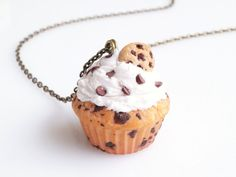 Chocolate Chip Cookie Cupcake Necklace Cupcake Charm by BiteMeNot