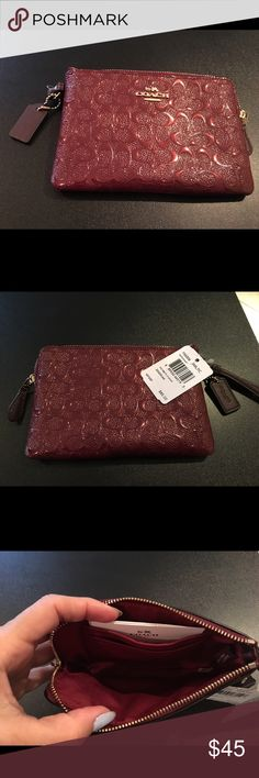 "New COACH Signature Patent Leather Wristlet Authentic Coach Signature Embossed Corner Zip Wristlet in rich Oxblood color. Gold plated hardware. Approximately 6"" Length x 4"" Height. Coach Bags Clutches & Wristlets"