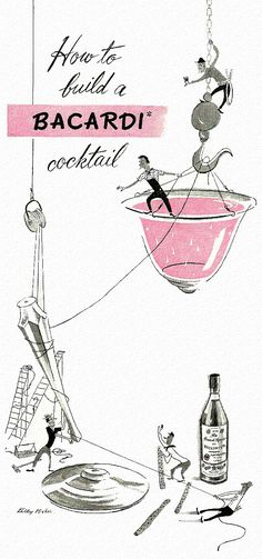 How to build a Bacardi… detail from 1947 Bacardi Rum ad