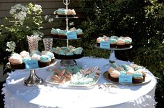 Dessert Display (Provided by Newport Sweet Shoppe) #backyardparty #SCD #coralandteal #graduation #dessert #cupcakes
