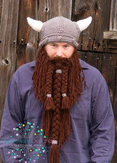 af0d521abe3 Viking Hat with Beard Teen or Adult Size -- Custom Made to Order Crochet Bearded  Hat