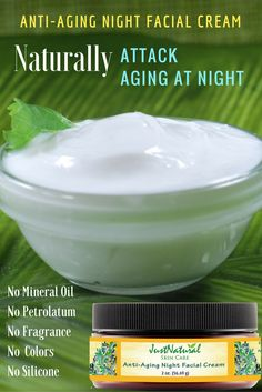 Anti-Aging Night Facial Cream / This night cream improves the condition of your skin, absorbs quickly and leaves the skin velvety- soft to the touch and visibly vibrant. Lightly scented with nutritive Orange, Palmarosa and Sandalwood essential oils. No Mineral Oil, No Petrolatum, No Silicone, No Artificial Fragrance, No Artificial Color. Naturally helps restore skin hydration and moisture levels with long-lasting moisture.