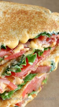 Bacon, Lettuce and Tomato Grilled Cheese Sandwich  Follow us for more Recipes in our website : http://best-recipes0.blogspot.com/