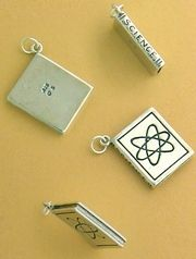 """""""Sterling Silver Charm, Science Book, Atom Diagram on Front, SCIENCE on the Side, 1 inch, 6.4 gr"""""""