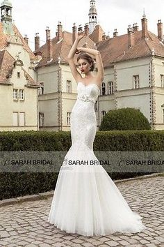 Custom Made Elegant White Sleeveless Flowers Floor-Length Mermaid Wedding Dress