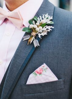 OMG! Love this. A vintage hankie as a pocket square.  |Arrow boutonniere | Renee Nicole Photography
