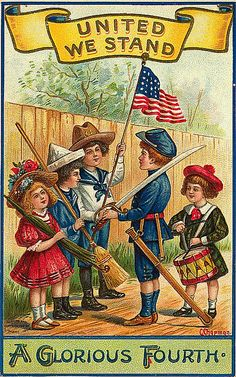 """""""United We Stand"""" """"A Glorious Fourth"""" of July children patriotic postcard 4th Of July Images, Patriotic Images, Patriotic Posters, Patriotic Crafts, July Crafts, Patriotic Quotes, Patriotic Party, Vintage Greeting Cards, Vintage Postcards"""