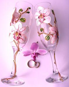 "Gallery.ru / Свадебные бокалы ""Орхидеи"" - СВАДЕБНЫЕ БОКАЛЫ - YS-art"