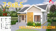 Small House plans with 2 bedrooms Gable roof The House has:-Car Parking and garden-Living room,-Dining Bedrooms, 1 bathroom 2 Bedroom House Plans, New House Plans, Small House Plans, Small House Layout, House Layouts, Bathroom Design Layout, Layout Design, Simple House Design, Gable Roof