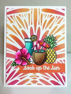 Sunny Studio Stamps Tropical Paradise Soak Up The Sun Coconut Drink Card by Amy