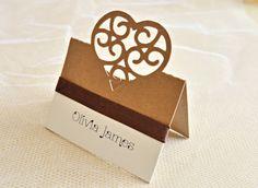 Heart wedding place cards set of 20 place by JasmineWeddingPrints