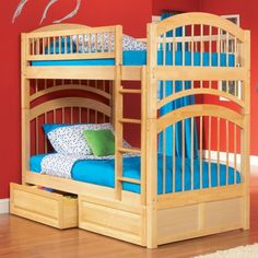 Windsor Twin over Twin Bunk Bed in Natural Maple w/ Storage Drawers