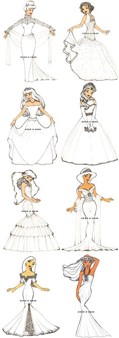 **if only these were real wedding dresses!*** Disney Princess Wedding Dresses by lulu-ibeh. Walt Disney, Disney Girls, Disney Style, Disney Love, Disney Magic, Disney Pocahontas, Disney And Dreamworks, Disney Pixar, Princess Wedding Dresses