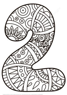 Number 2 Zentangle coloring page from Zentangle Numbers category Select from 27278 printable crafts of cartoons nature animals Bible and many Mandala Coloring Pages, Coloring Sheets, Coloring Book Pages, Coloring Letters, Adult Coloring, Kindergarten Math Activities, Preschool Art, Science Activities, Preschool Pictures