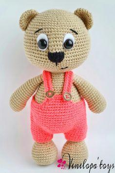 Amigurumi crochet bear in dungarees. (Inspiration).