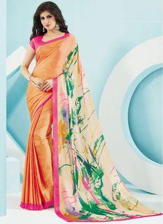 Crepe Cream and Orange Colored Trendy Printed Saree