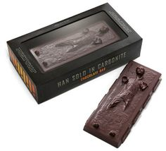 Han Solo Carbonite Chocolate : Take a bite out of the Star Wars universe with the Han Solo Carbonite Chocolate Bar ($12).